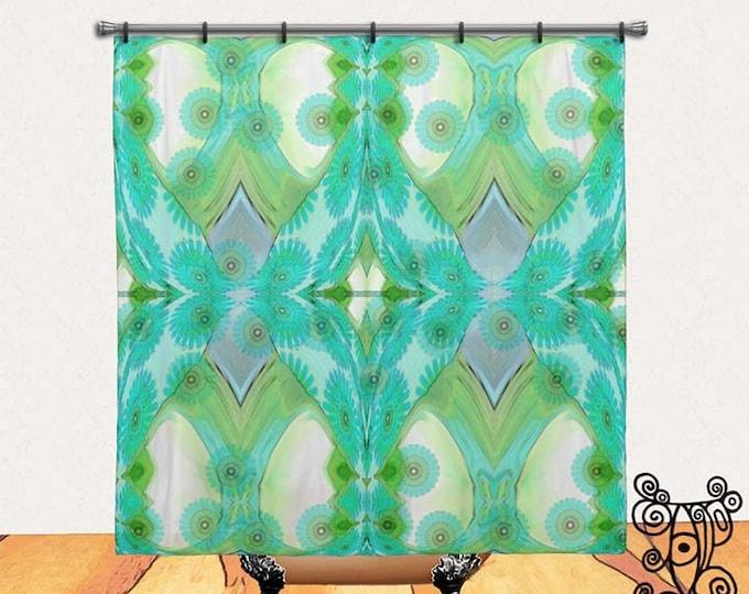 Floral, Turquoise Blue, BOHO, Chic, Custom, Printed, Fabric, Shower Curtain, Bath Decor, Home Decor, Funky, Art, by Ingrid Padilla