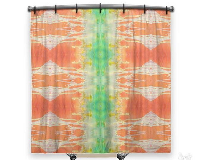 BOHO Shower Curtain, Shower curtain, orange shower curtain, shower curtains, Tangerine, Fabric shower curtain, shabby chic shower curtain