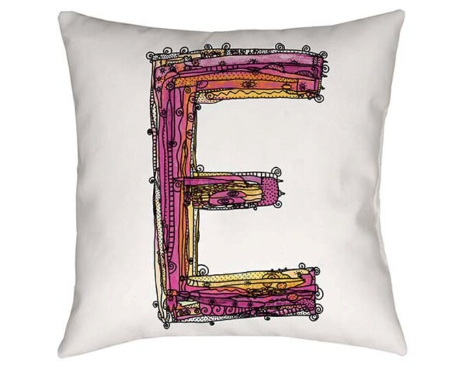 Whimsical, Letter, E, Pillow, Decorative, monogram pillow, Illustration, funky, typography, Alphabet, Art, Printed fabric, Ingrid Padilla