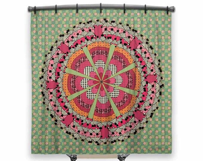 Mandala shower curtain, pink and green shower curtain, Fabric shower curtain, Mandala Art