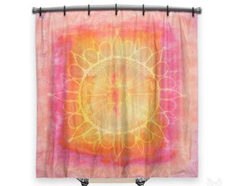 BOHO Shower Curtain, Shower curtain, Mandala shower curtain, shower curtains, pink shower curtain, boho curtain, shabby chic shower curtain