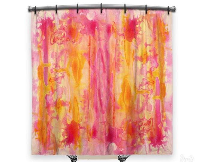 Pink abstract art, Shower Curtain, Shower curtains, abstract shower curtain, Boho Shower curtain, Pink shower curtain, Shower curtain art