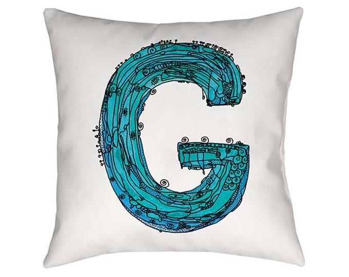 Blue, Letter G Pillow, Letter G, pillow, pillows, monogram pillow, throw pillow, letter pillow, Alphabet Art, throw pillows, Blue G pillow