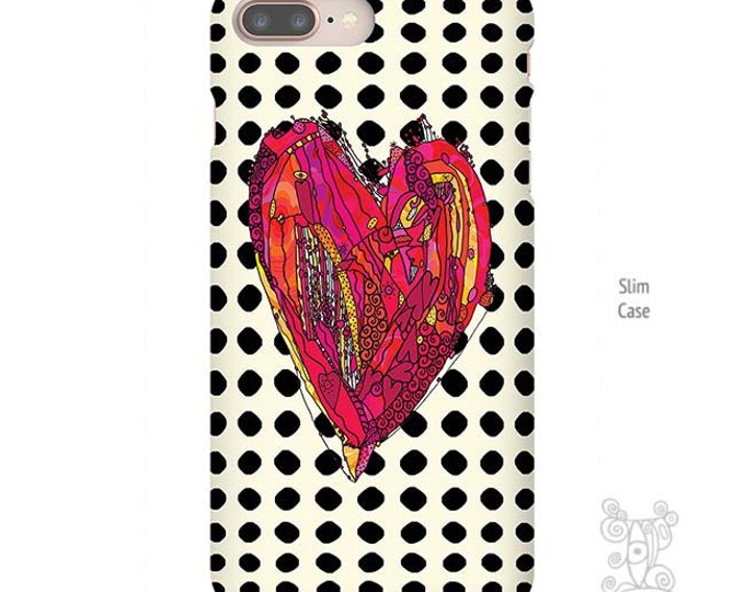 Red Heart art, Polka Dot iPhone case, Heart iPhone Case, iPhone 7 Case, iPhone 7 Plus Case, iPhone X case, iphone 8 case, iPhone 8 plus case