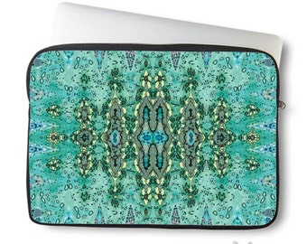 Boho, Laptop Sleeve, Bohemian, Laptop case, Laptop Cover, Turquoise blue, Neoprene, Macbook case, Ingrid Padilla, Abstract, Art