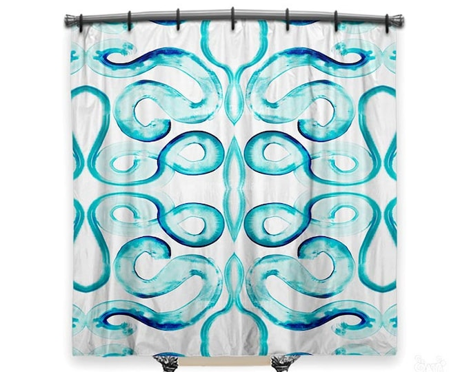 Blue and white shower curtain, Curvy Blues, Shower curtain, Ingrid Padilla