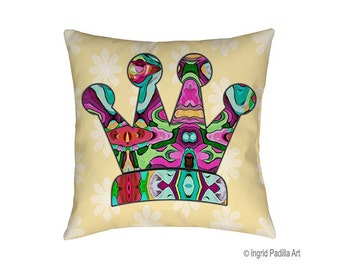 Queen Pillow, pillows, Decorative pillows, throw pillows, accent pillow, Crown pillow, Couch Pillow, designer pillows, Artsy pillow, Art