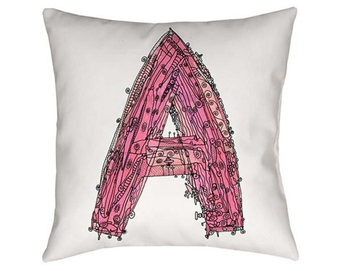 Pink Letter A Pillow, Letter A pillow, A pillow, pink letter A, pillow, pillows, Letter A pillows, monogram A pillow, throw pillow, letter A