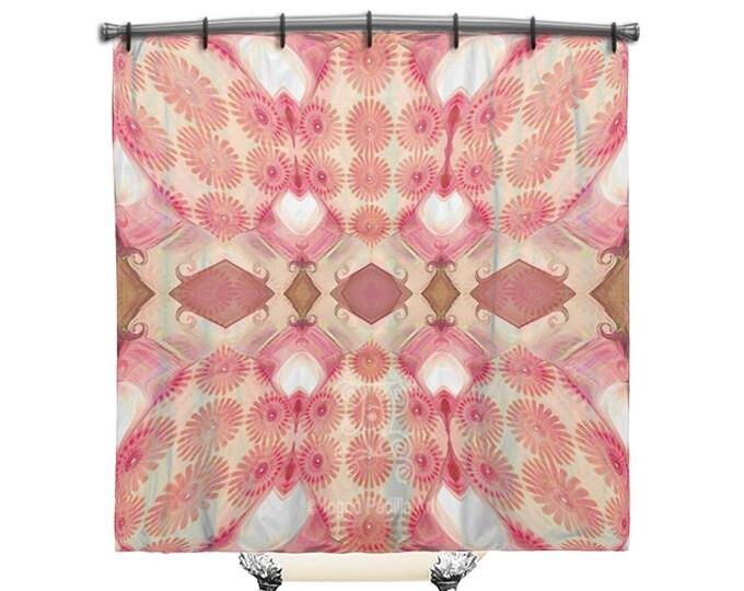 Pretty Pink, Shower Curtain, Boho shower curtain, Pink shower curtain, Fabric Shower Curtain, Bohemian decor, Shabby chic shower curtain