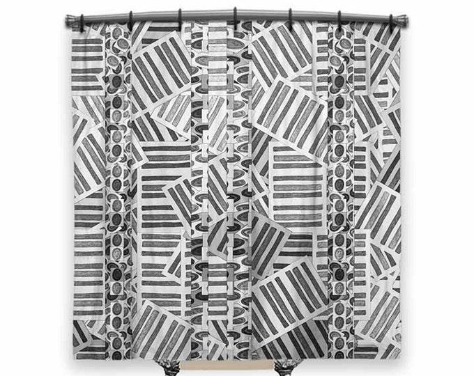 Peabody Shower Curtain, Geometric Art, Shower Curtain, black and white Shower curtain, Fabric Shower curtain, Geometric Fabric, Bath Decor