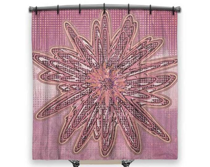 Boho shower curtain, Pink Shower Curtain, Shower curtain, floral shower curtain, Bathroom art, Boho Chic Decor, Funky shower curtain