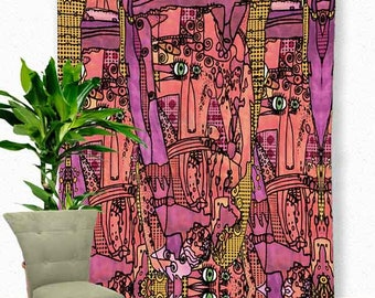 Faces of Petunia - Tapestry, Artwork by Ingrid Padilla, Colorful Wall art, Hippie tapestry, Boho Tapestry, Tapestries