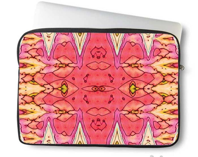 Pink geometric Laptop cover, boho laptop case, neoprene laptop sleeve, Macbook case, Laptop case, Laptop Cover, Abstract, Art on case