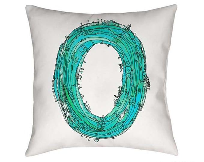 Letter O Pillow, Letter O, pillow, pillows, monogram pillow, throw pillow, letter pillow, Alphabet Art, Blue Letter O pillow, O pillow