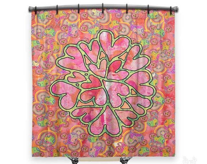 Paisley shower curtain, hearts, BOHO Shower Curtain, Shower curtain, whimsical shower curtain, Fabric shower curtain, dorm Decor, boho Decor
