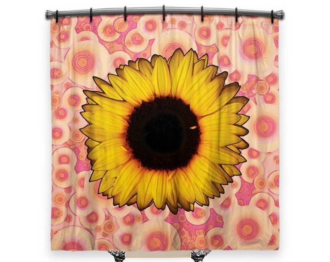 Sunflower Shower Curtain, Shower curtain, Pink shower curtain, Boho curtain, Fabric shower curtain, Bath Decor, Boho Chic Decor