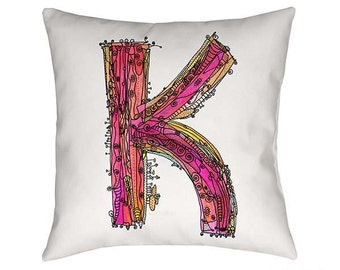 Whimsical, Letter K Pillow, Decorative pillow, pillow, pillows, monogram pillow, funky letter k, throw pillow, Alphabet Art, letter k art