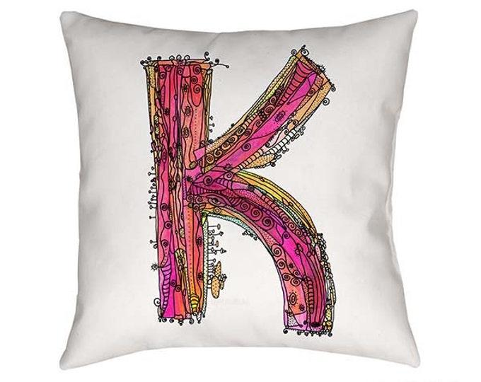 Whimsical, Letter K Pillow, Decorative pillow, pillow, pillows, monogram pillow, funky letter k, throw pillow, Alphabet Art, letter k art