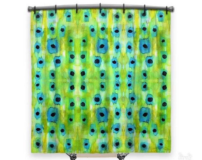 Bluegrass, Shower Curtain, Blue and green shower curtain, BOHO shower curtain, Fabric shower curtain, Funky decor, Bath Decor, Abstract Art