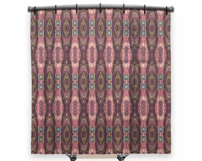Burgundy, Shower curtain, BOHO Shower Curtain, fabric shower curtain, Vintage shower curtain, shower curtain art, Bath Decor, Boho Chic