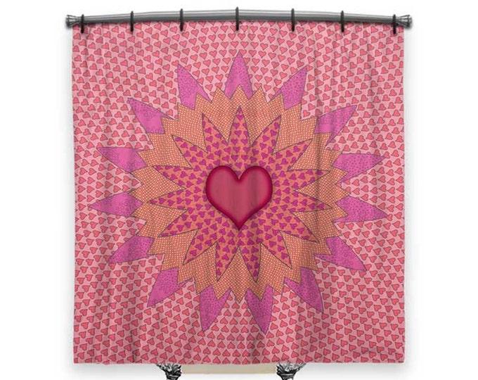 BOHO Shower Curtain, Girls Shower curtain, shower curtain art, Pink shower curtain, shower curtain for kids, Bath Decor, Boho Chic Decor