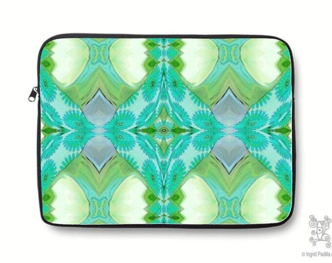 Boho, Bohemian, turquoise, vintage, Neoprene, Laptop Sleeve, Macbook case, Laptop case, Laptop Cover, Ingrid Padilla, Abstract Art