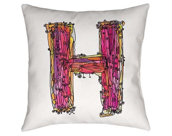 Pink H, Letter H Pillow, Pillow, Initial H pillow, initial H, typography, Alphabet Art Pillow, Throw pillows, Nursery decor, Ingrid Padilla