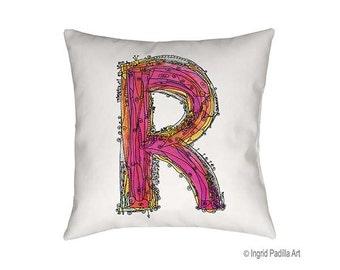 Whimsical R Pillow, Letter R Pillow, Decorative pillows, personalized pillow, pillow, pillows, letter pillow, R Print, Ingrid Padilla Art