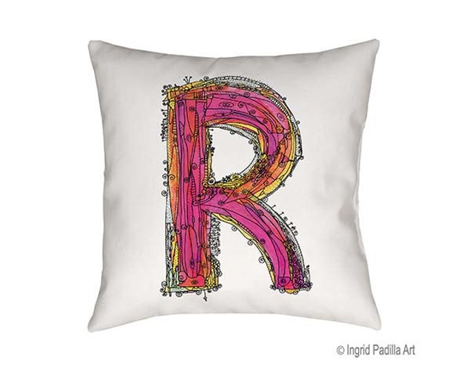 Whimsical R Pillow, Letter R Pillow, Decorative pillows, personalized pillow, pillow, pillows, letter pillow, R Print, Ingrid Padilla Art