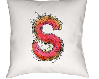 Whimsical, Letter, S, Pillow, monogrammed pillow, Illustration, funky, typography, Alphabet, Art, Decor, fabric, Ingrid Padilla