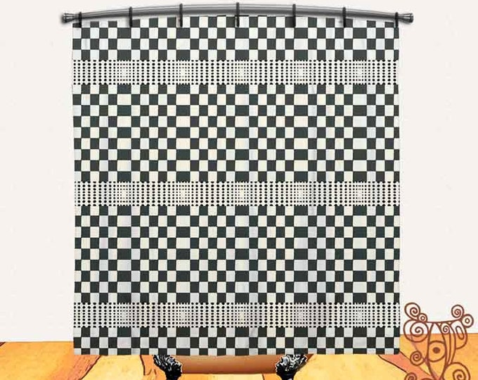 Boho, checkers, Printed, Fabric, Shower Curtain, Bohemian, Cottage, decor, Bath Decor, Home Decor, Funky, Art, by Ingrid Padilla