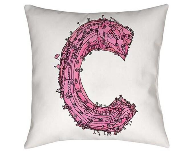 Pillow, Whimsical Pillow, Letter C Pillow, throw pillow, monogram pillow, funky art, Alphabet Pillow, throw pillows, pillows, Letter C Print