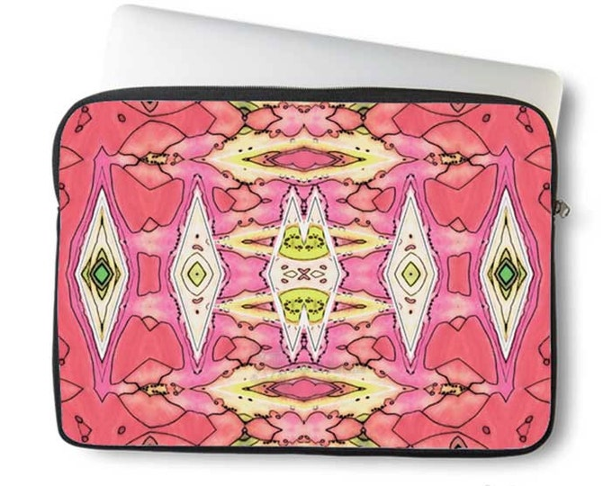 Pink geometric, Laptop Sleeve, blush, boho, neoprene, laptop sleeve, Macbook case, Laptop case, Laptop Cover, Ingrid Padilla, Abstract, Art