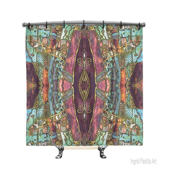 Artsy Shower curtain, BOHO Shower Curtain, Shower curtain, Burgundy shower curtain, Boho curtain, Fabric shower curtain, Boho Decor, artsy