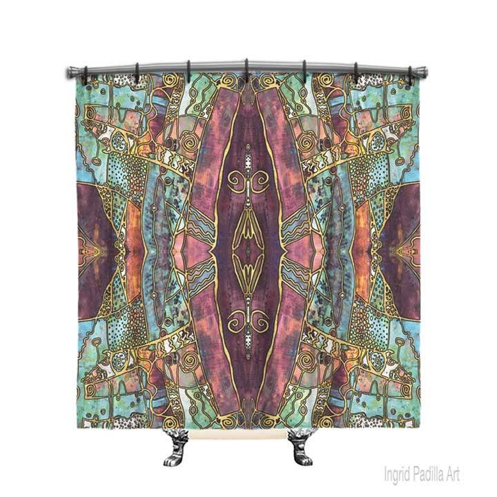 Artsy Shower Curtain BOHO Burgundy Boho Fabric Decor