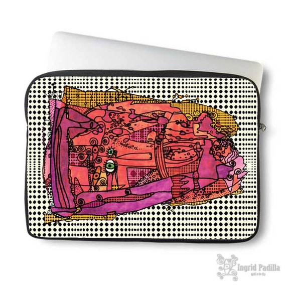 Artsy, doodle, Laptop bag, laptop case, neoprene, laptop sleeve, Macbook case, Laptop case, Laptop Cover, Abstract Art on Laptop case