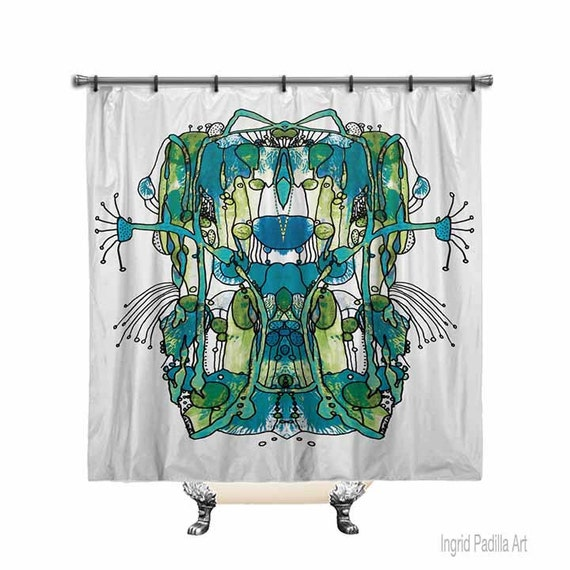 Funky shower curtain, Blue Shower Curtain, Shower curtain, Abstract shower curtain, shower curtain Art, Fabric shower curtain, abstract art