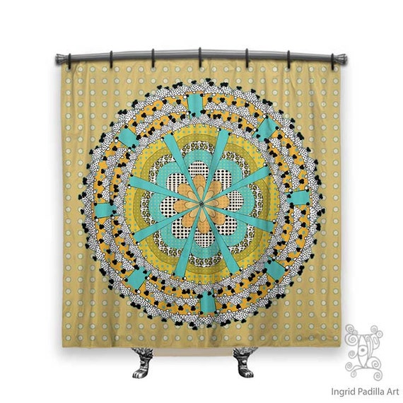 Cottage Whimsy, Yellow Shower Curtain, shower curtain, Mandala Shower curtain, boho shower curtain, Mandala,  shower curtain art, Bath Decor