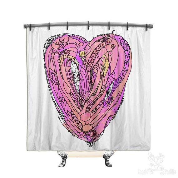 Amore - Heart Shower Curtain - Art by Ingrid Padilla