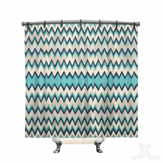 Blue Chevron, Shower Curtain, Shower curtain, chevron shower curtain, Chevron curtain, Funky, Fabric shower curtain, Bath Decor, Home Decor