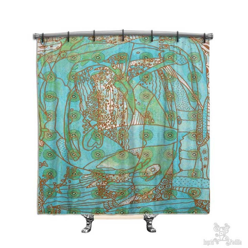 Turquoise Shower Curtain Beach Decor BOHO