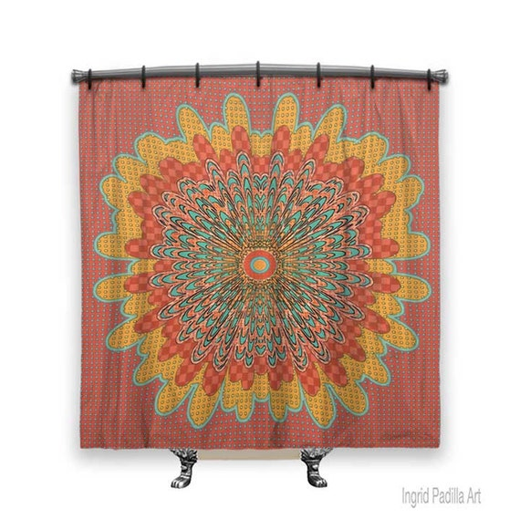 Shower curtain, BOHO Shower Curtain, Fabric shower curtain, shower curtain art, Red shower curtain, country Decor, Boho chic, Cottage decor