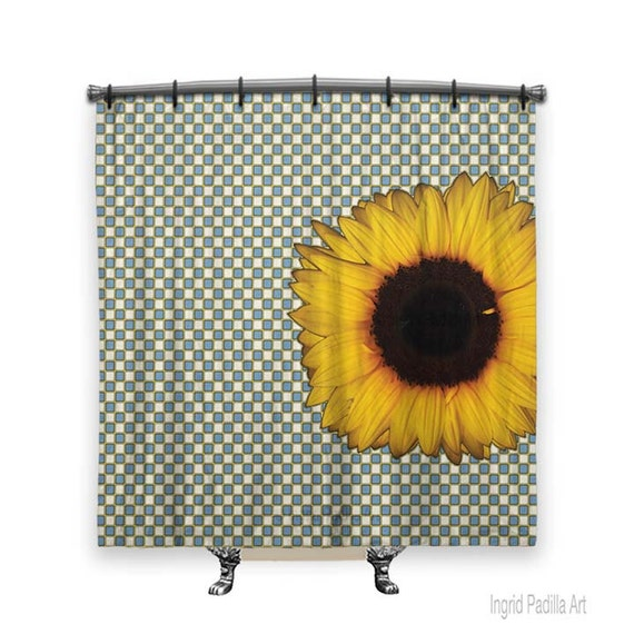 Big Sunflower, Shower Curtain, Shower curtain, Blue shower curtain, Fabric shower curtain, Checkered shower curtain, Bath, Boho chic Decor