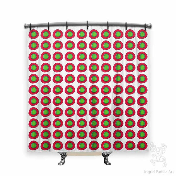 Mixed Dot - Red and green - (with a touch of turquoise) - Shower Curtain by Ingrid Padilla