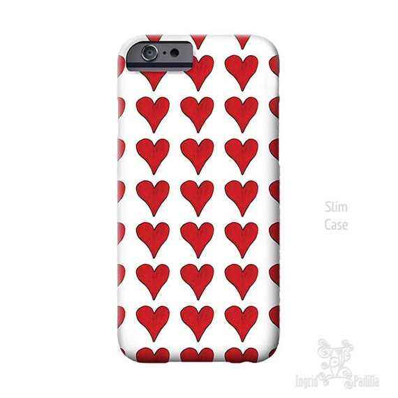 Red Hearts, iPhone 7 Case, hearts iPhone case, iPhone 7 plus case, iphone 8 case, Art, iPhone 6s case, iPhone 5S case, iPhone 8 Plus case