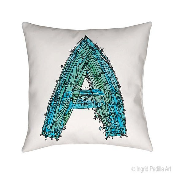 Pillow, Whimsical Pillow, Letter A Pillow, throw pillow, monogram pillow, funky art, Alphabet Pillow, throw pillows, pillows, Letter A Print
