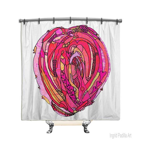 Artsy, Heart shower curtain, Shower Curtain, Fabric Shower curtain, Custom Shower Curtain, Bath Decor, Decor, Funky, Art, Ingrid Padilla