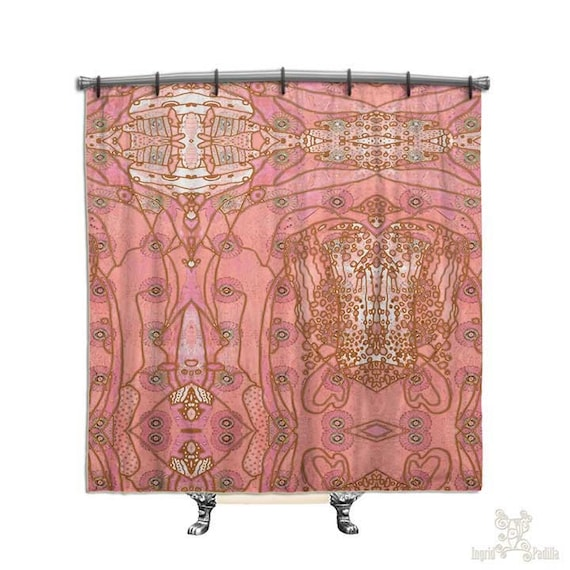 Pink, Bohemian Shower Curtain, BOHO Chic style, Hippie Chic, Shower curtain, Fabric shower curtain, Bath Decor, Home Decor, shabby decor