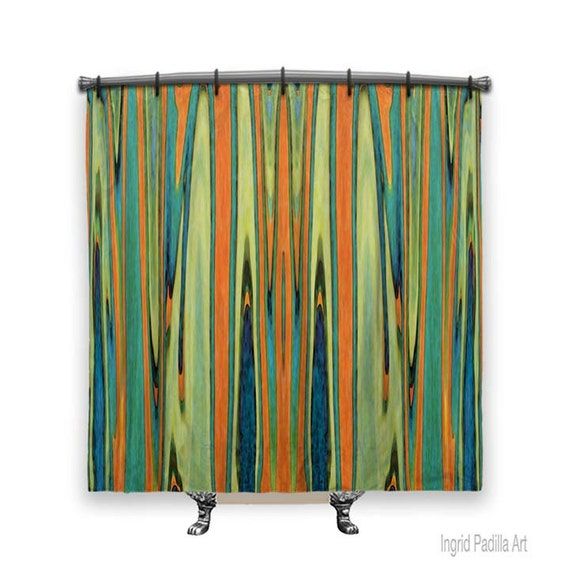 Turquoise and Orange, Retro shower curtain, Shower Curtain art, Shower curtain, bathroom decor, fabric curtain, Bathroom art, funky Decor