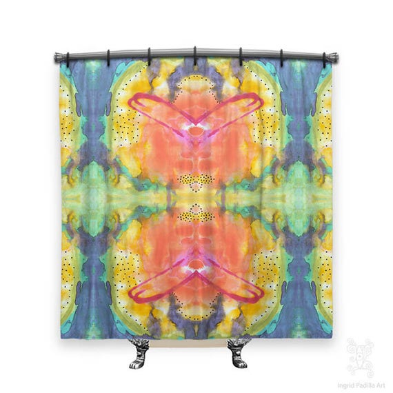 BOHO Shower Curtain, Shower curtain, Colorful shower curtain, Abstract shower curtain, shower curtains, Shower curtain art, Bohemian decor